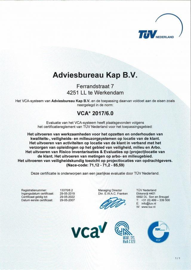 Certificaat KAP - VCA 2017-6.0 (vervaldatum 29052022)
